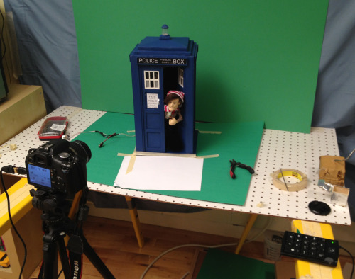 doctorpuppet:  We're almost done with our stop-motion Christmas special! The set's been broken down and we're just finishing up a few green screen shots. I've always liked the color green.