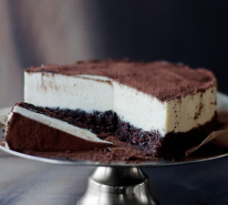 chocolateguru:  Chocolate cake with white mousse  desserts-n-sweets.tumblr.com
