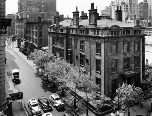 Townhouse JP Morgan Taxicabs Automobiles Chimneys Trucks New York City 1950s