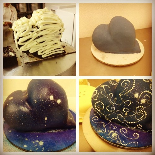 My hipster nebula cake so far.