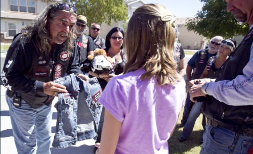 "hiddletash:  thiinka:  raetherandom:  BIkers Against Child Abuse Helps Make Abused Children Feel Safe Again  ""A biker's power and intimidating image can even the playing field for a little kid who has been hurt. If the man who hurt this little girl calls or drives by, or even if she is just scared, another nightmare, the bikers will ride over and stand guard all night. If she is afraid to go to school, they will take her and watch until she's safely inside. And if she has to testify against her abuser in court, they will go, too, walking with her to the witness stand and taking over the first row of seats.""     i love these guys"