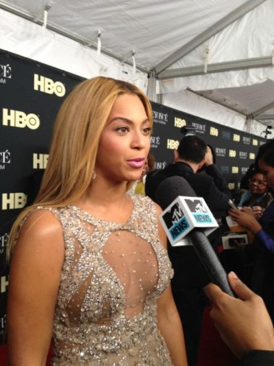 "mtvnews: ""We're with  Beyonce on the red carpet for herHBO documentary!"""