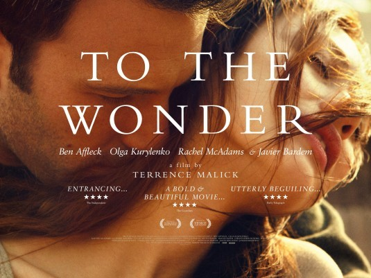 REVIEW: TO THE WONDER To the Wonder is only the sixth feature film in filmmaker Terrence Malick's forty-year-long career. Known for taking several years in between projects, Malick has seemingly rushed his latest to the screen only two years after the alternately challenging, pretentious, baffling, beautiful, and altogether polarizing tone poem The Tree of Life. Daunting or not, this largely incoherent mood opus might be Malick in his purest form — a minimalistic plot, existential themes, philosophical whispered voice-overs, impressionistic cinematography of nature, and classical music. Seeing a more gorgeous-looking film this year is predicted to be impossible, but to watch To the Wonder is to have visual beauty and poetry wash over you and not feel a real sense of meaning or purpose. It's like a cure for insomnia CLICK HERE TO READ THE FULL REVIEW AT FESTIVAL OF FILMS!