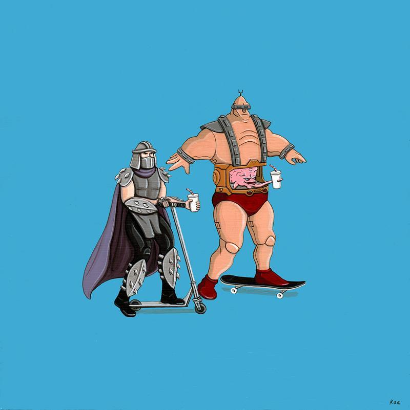 "radnerd:  ""Shredder & Krang Ride"" by Kiersten Essenpreis  via Gallery1988"
