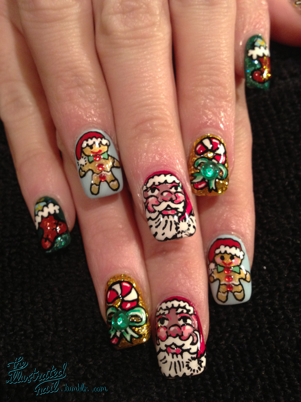 theillustratednail:  Jingle nails…HO HO HO!  Hope everyone had lovely Christmas xxxxx