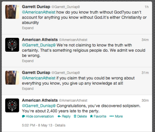 proud-atheist:  American Atheists made a funny on Twitterhttp://proud-atheist.tumblr.com   Late.