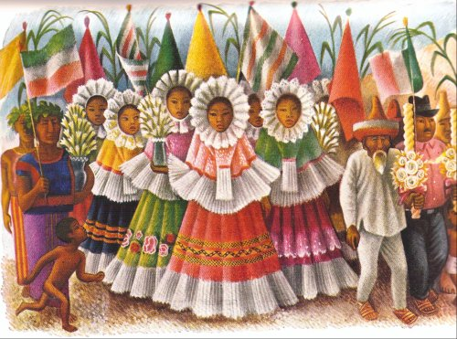 Miguel Covarrubias, Young Tehunas Carrying Flowers