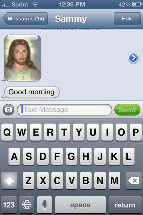 told my friend I'm an atheist.  Now this is how he greets me. LMAO