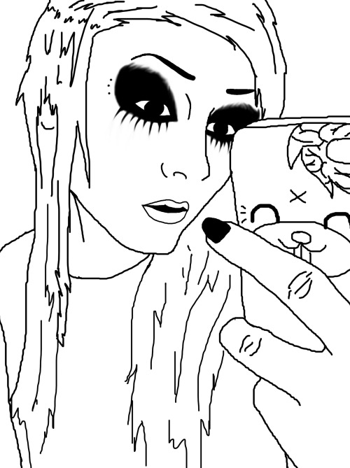 I got bored and drew my first ever self-portrait :3