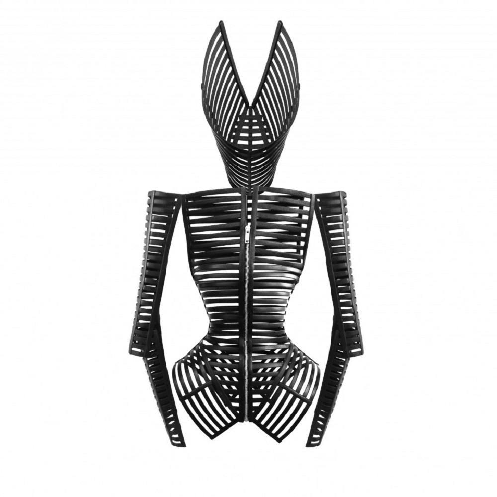 Black leather cage jacket, headpiece and armlets by Gareth Pugh from his Spring/Summer 2012 collection.