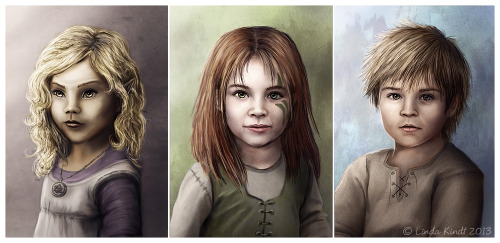 The Young Ones by *Isriana My Skyrim characters Altmer mage Laraniel, Nord warrior Skaila and Imperial thief Bron as kids.