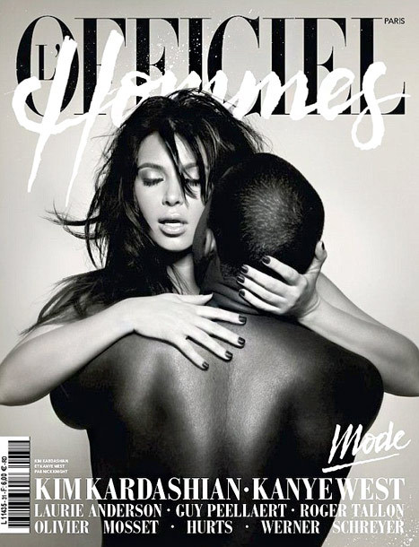 Kanye West and Kim Kardashian pose nude for the cover of French magazine L'Officiel Hommes