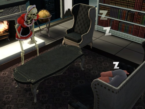 "simsgonewrong:  ""why is this fucker sleeping on the couch?"""