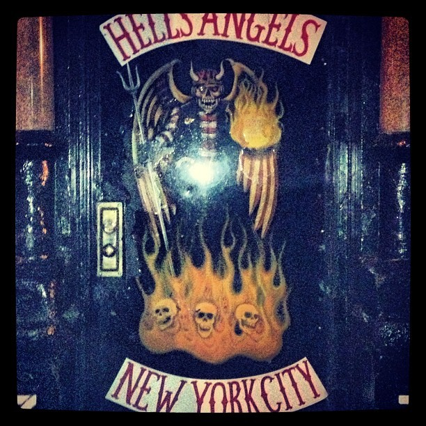#hellsangels #motorcycle #gang #door #black #graffiti #nyc #manhattan #les #latergram #punk #huntersthompson