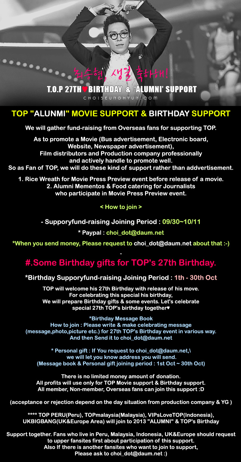 "TOP ""ALUNMI"" MOVIE SUPPORT & BIRTHDAY SUPPORT"