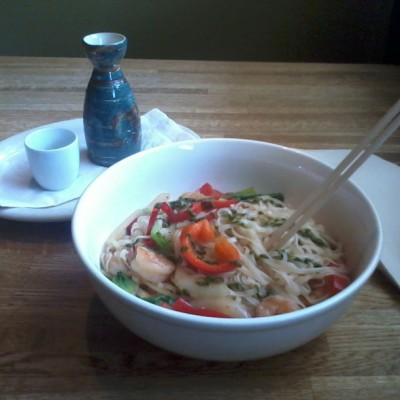 #lunch #noodles #warm sake ninja indulgence