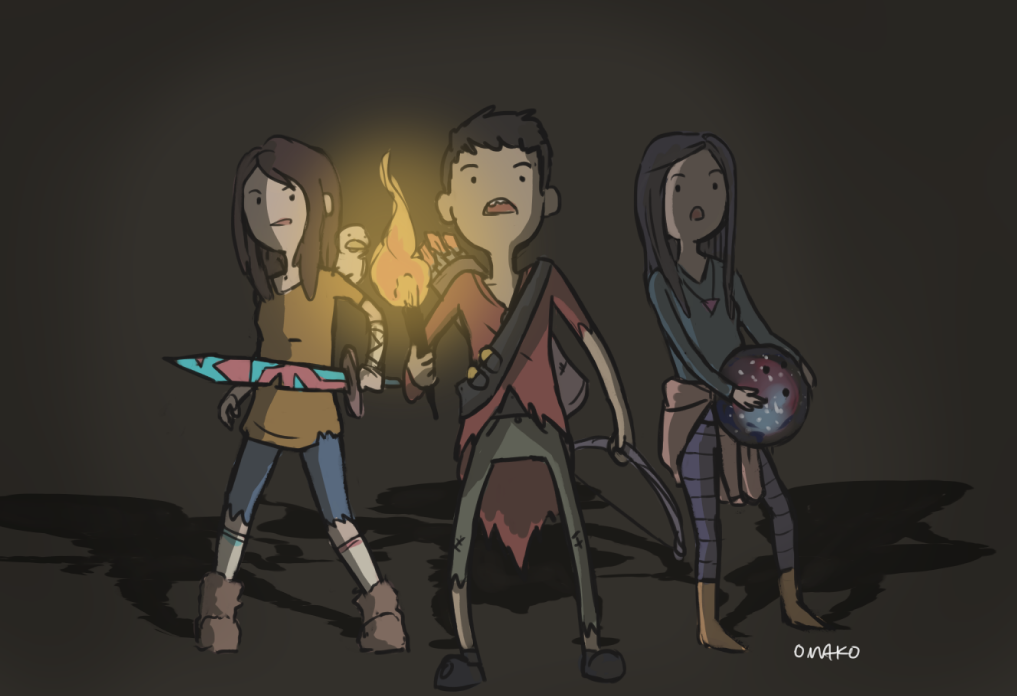 Its Veronica, Kai and I as adventure time peoples. I have no idea what is up with it but okay. Kai has a magic bowling ball and Veronica is just cool and then I am some lame ass Archer okay. Wow