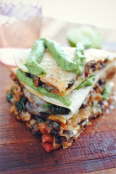 makethesefoodsok:  Tempeh and Black Bean Quesadillas