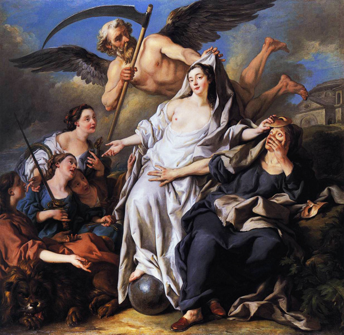 jaded-mandarin:  Jean-François de Troy. An Allegory of Time Unveiling Truth.