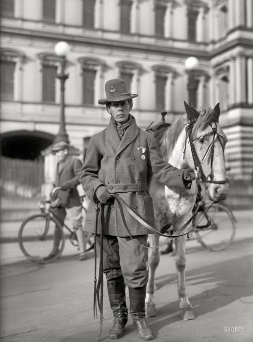 "(via Red Fox: 1915 | Shorpy Historical Photo Archive)  Red Fox James, a Blackfoot Indian, rode horseback from state to state seeking approval for a day to honor Indians. On Dec. 14, 1915, he presented the endorsements of 24 state governments at the White House. There is no record, however, of such a national day being proclaimed. (Library of Congress)  1915. ""Indians, American. Red Fox James at White House."" With the State, War and Navy building as backdrop. Harris & Ewing glass negative. View full size."