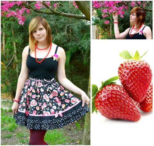 Eat Me, Dear Strawberry (by Miyu Mew Poke&Destroy)A very simple coordination for the beginning of the strawberry season ^.^