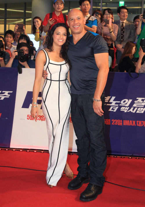 verysherry:  Michelle Rodriguez and Vin Diesel || 'Fast & Furious 6' Seoul South Korea Premiere on May 13, 2013