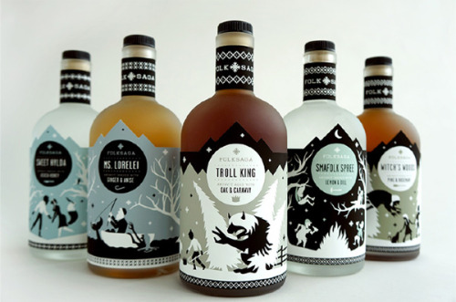 weandthecolor:  Liquor Package Design Concept A packaging concept by Caleb Heisey for Folksaga, a Swedish dis­tillery of akvavit (tra­di­tional scan­di­na­vian liquor). The illustrated bot­tles fea­turing pop­u­lar Swedish folk tales. The illustrations show mytho­log­i­cal char­ac­ters such as mer­maids, trolls, or witches. More of the packaging concept on WE AND THE COLORWATC//Facebook//Twitter//Google+//Pinterest  I love the designs people do on these bottles like the people who design the absolute bottle covers aswell would love to go into designing things like this