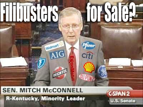 "If Republican Minority Leader Mitch McConnell is going to keep using the filibuster to block legislation that his big donors don't like, should he be required to wear his sponsors' logos like a NASCAR driver? Check out the full report on the connections between McConnell's filibustering and his fundraising: ""Cashing in on Obstruction"""
