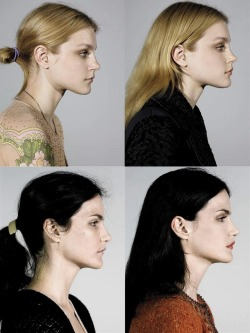 "thewakeupcall:  ""Makeover Madness"", Jessica Stam & Missy Rayder photographed by Steven Meisel for Vogue Italia July 2005."