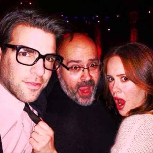 """My 2 pals Bloodyface @zacharyquinto and Lana Banana @sarah__paulson"""