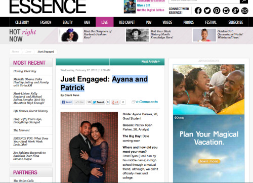 So excited that Ryan & Ayana's engagement has been featured on Essence.com! http://www.essence.com/2013/02/27/just-engaged-ayana-and-patrickIf you haven't seen the video shot by Love Hype Productions yet Check it out!  http://vimeo.com/57989533 Special thanks to Fallon Carter Weddings for hiring us to capture their engagement proposal on video!