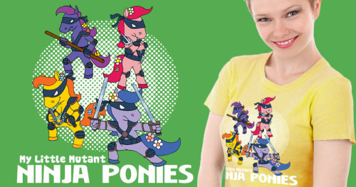 "My Little Mutant Ninja Ponies is up for scoring on Threadless ~ Hey iheartchaos community, I entered this design into Threadless's TMNT t-shirt contest. I'm pretty sure ninja ponies are desperately needed in the world. It's kind of a miracle the ponies even got accepted into this turtle race, so how about some help getting them to the finish line? Polls close April 23rd. To quote Ween, ""Mister would you please help my pony""."