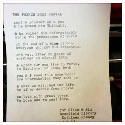 """The French Poet Nerval"" by Kathleen Rooney — Deerfield Library, 4.6.13 Poem topic: ""29th anniversary. Paris, Rome, Michigan"""