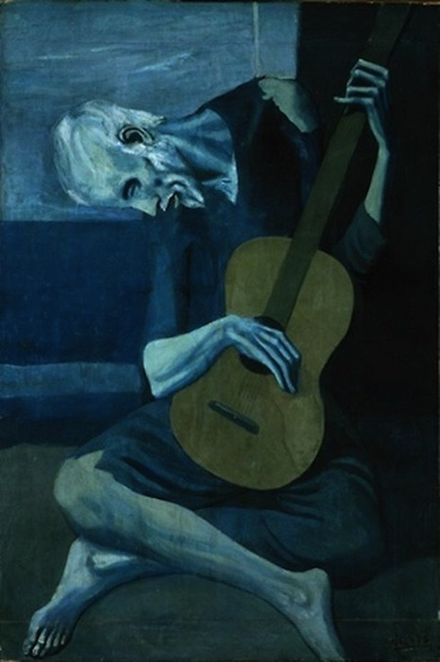 apoetreflects:  Painting: Pablo Picasso, The Old Guitarist, 1903