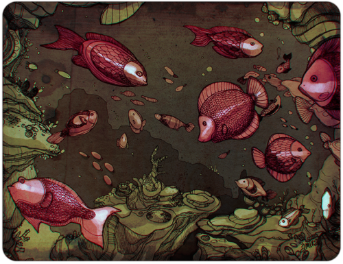 coloured some fish linework i did for a class last semester