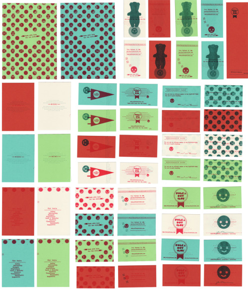 Polka Dot Club variations. four business card designs, membership card, memocard, notecard on 5 different stocks.Printed on the risograph by 50/50 press!