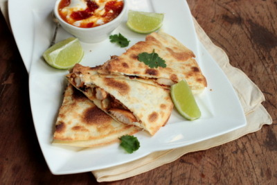 in-my-mouth:  Red Chile Jam + Tequila Chicken Quesadilla