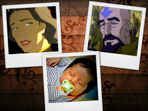 mistmountaindreamer:   A family that could have been…   Tenzin still has an old album full of pictures from his and Lin's childhood all the way through to the last days of their relationship. In the back is a blank page with a detailed designed background and three empty slots for photos. He remembered saving this page to put a picture of his self, Lin, and the baby he had hoped they would eventually have together, but sadly that page never got filled. Some days when he misses Lin or just reminisces about the past, he'll pull out that album and stare at that page. He'll stare and picture his and Lin's pictures in the rightful slots along with a picture of a beautiful baby with a slightly darker complexion than Lin but had her dark black hair and sleeping peacefully. He'd never admit it but he still had dreams of the family that he and Lin could have had.  Here I hope I gave you a bunch of feels! I tried my best to cartoonize the baby a little to make it look animated. And c'mon you know that baby looks like what a Linzin baby would have looked like!!