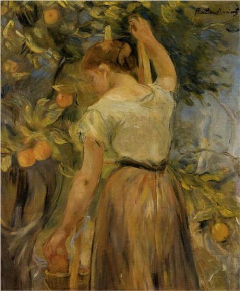 Berthe Morisot  Young Woman Picking Oranges (via museworthy)