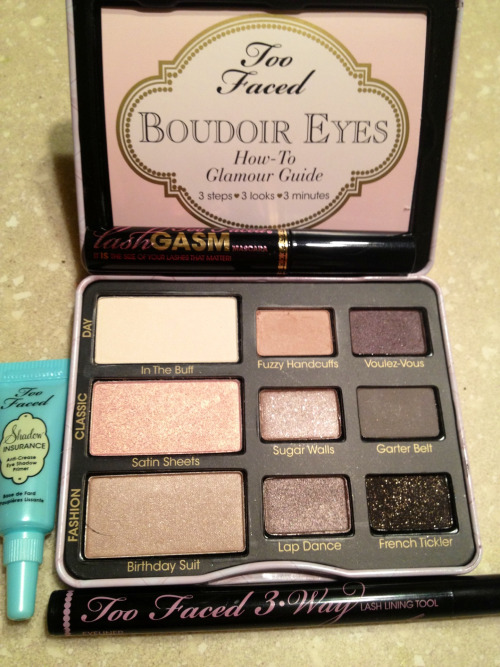 the only makeup a girl ever needs. my boudoir palette, shadow insurance (eye primer), 3-way liner and lashGASM mascara came (2 of which were free samples, yay). I'm in love!
