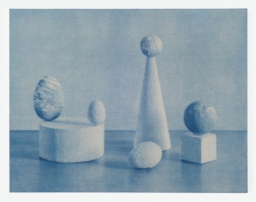 "flasd:  John Opera Forms I cyanotype on stretched linen 21""x27"" ed. 3"