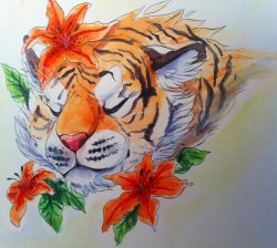 "kaceymeg:  Playing with my new aquarelle water colour paints. ""Tiger lily""   both photo and scan looked horrible cries"