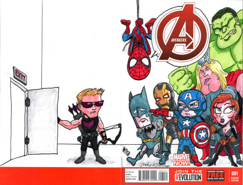 Just a few hours left to bid on a the one-of-a-kind copy of Avengers #1 with my cover.