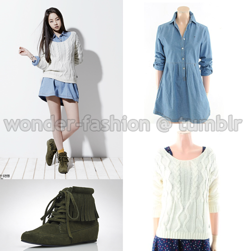 Tommy Hilfiger Denim, Deninm dress ₩133,880 via CJ Mall Tommy Hilfiger Denim, Boat Neck Knitwear ₩103,280 via CJ Mall Fringe Flat ankle boots ₩159,000 via Daylight Newyork