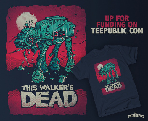 "hey guys! my ""Walker's Dead"" design is now up for funding and preorder on TEEPUBLIC! It is an all new version with revamped textures, new shadows and richer colour! This way to preorder yours and help me fund this walker:www.teepublic.com/show/3195-walkers-dead"