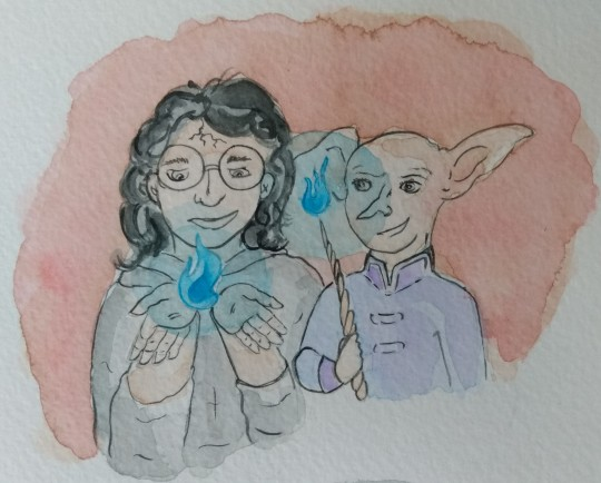 Harry and Limmy perform magic beside each other. Harry cups blue flames in his hands. Limmy conjures the same blue flame at the end of her wand.