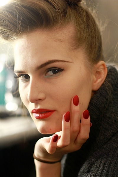 cultofpretty:  Matte red is retro delicious ... backstage at Badgley Mischka FW13 Hair: Moroccanoil; Makeup: M.A.C.; Nails: Deborah Lippmann Image: The Greyest Ghost for Cult of Pretty