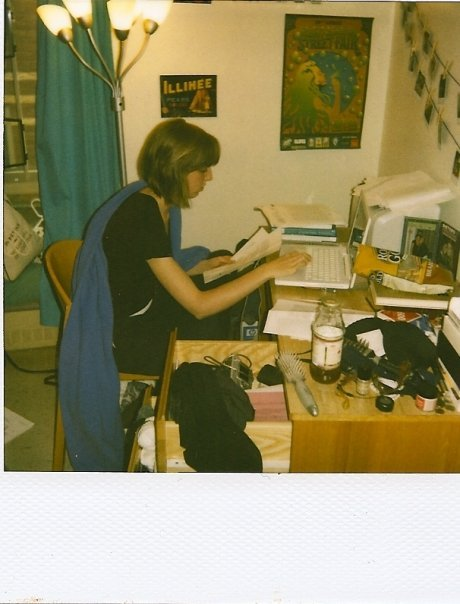 #tbt typing up my last college paper. taken with my sick ass polaroid camera.