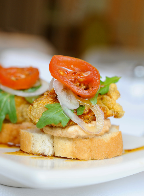 Brennan's Crispy Oyster BLT (Gulf oyster with bacon mousse and Creole mustard glaze) featured by Houston Chronicle's food editor Greg Morago for 29-95.com .published 01/18/2013 photography © 2013 debora smail