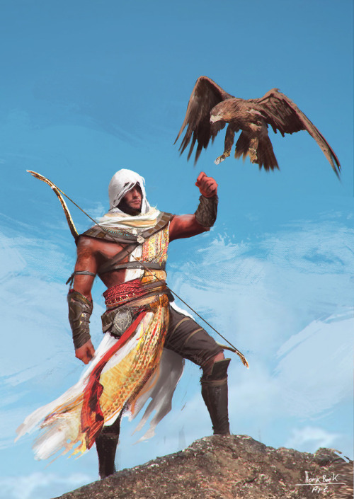 Bayek of Siwa (with Arno Dorian's face?) from Assassin's Creed: Origins by Wert23